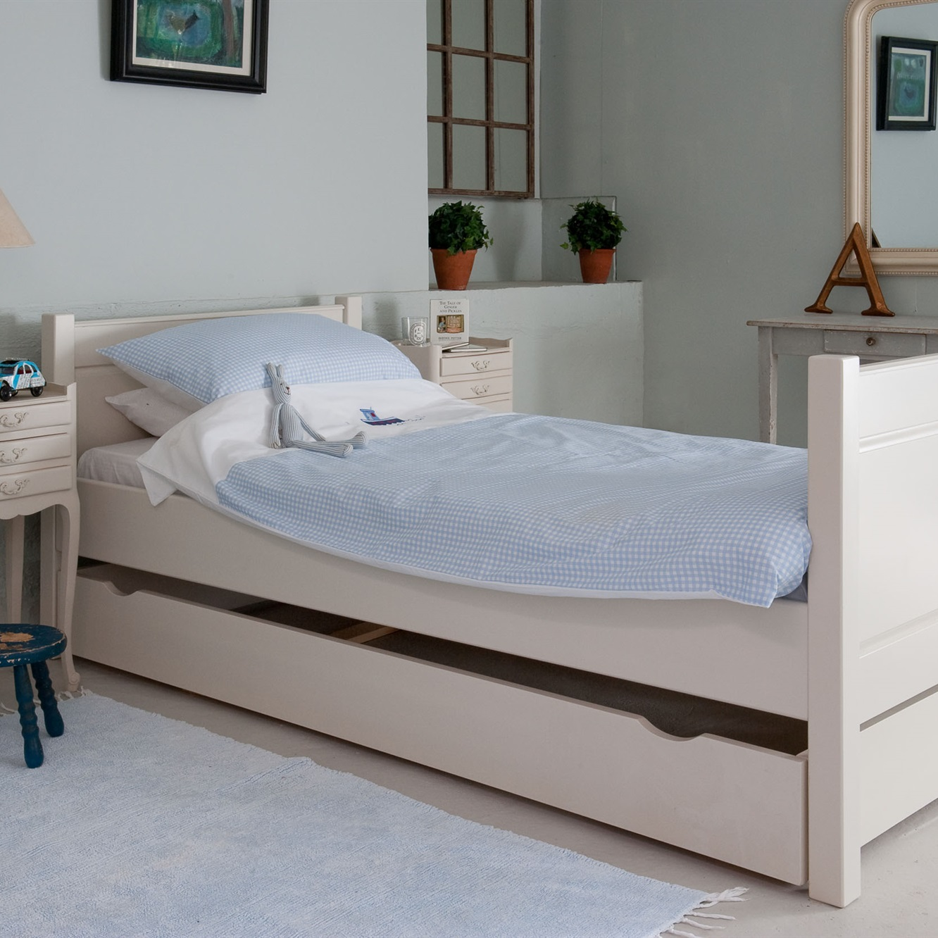 New England bed with underbed storage